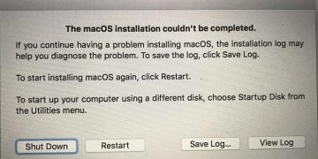 macOS Installation Couldn't Be Completed