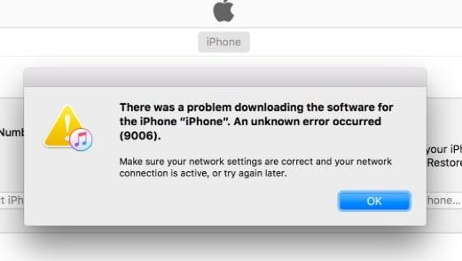 fix Apple iTunes error 9006