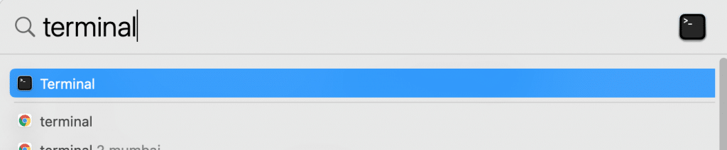 mac terminal search using spotlight